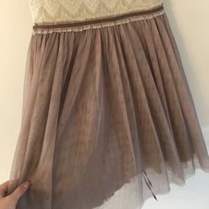 Anthropologie Dresses - Anthropologie | Weston Wear Tulle Taupe Lace Dress